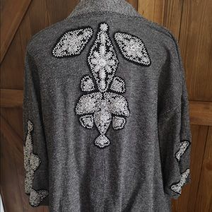 Beaded back open front waterfall cardigan